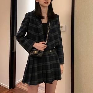 【セットアップ】ファッショングリーンチェック柄トップス+プリーツスカート2点セットアップ