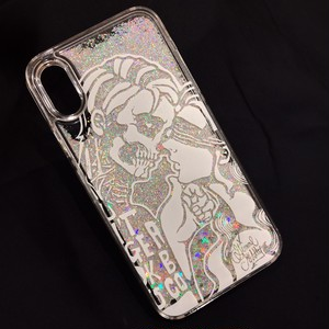 【予約】iPhoneX.XS Glitter Case / Skull ( hard type ) / SILVER / gm-19ca4