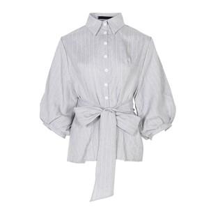 Striped balloon sleeve peplum shirt blouse ストライプ バルーン スリーブ ペプラム シャツ ブラウス