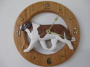 木彫りの丸時計【セントバ-ナ-ド】