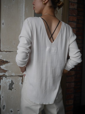 JANE SMITH / BACK OPEN PULLOVER (JADE GREEN / PALE GRAY)