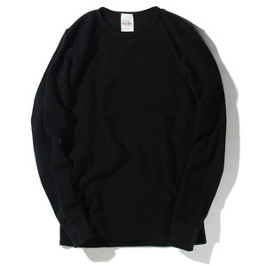 WAFFLE CREW NECK L/S【RENEWAL】 (BLACK) / RUDE GALLERY BLACK REBEL