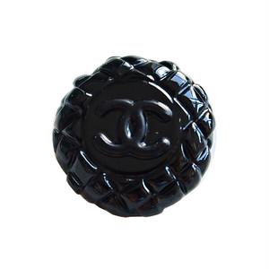【VINTAGE CHANEL BUTTON】ブラックキルティング風 ココマーク ボタン 20mm C-19081