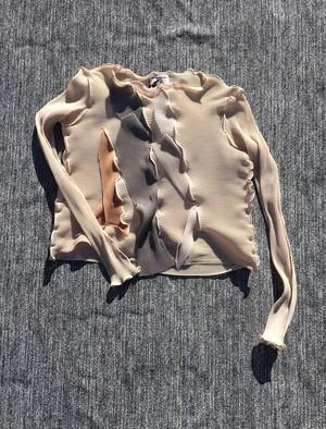 pleats top/long sleeve/#light beige
