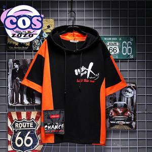 【トップス】カジュアルフード付き半袖プリントプルオーバーTシャツ20284268