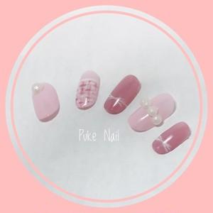 【オーダーサイズ無料ネイルチップ】桜色♡ミルクピンク♡パール
