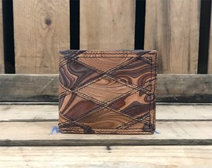 MAGNET Patchwork Billfold Wallet Wood Brown x Wood Natural