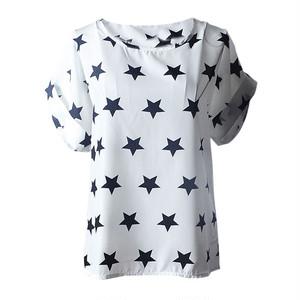 星柄★シフォンブラウスシャツ モノトーンでおしゃれ♪