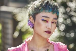 ARRO / Embroidery Ear-clip / Wavy Pearl / PURPLE