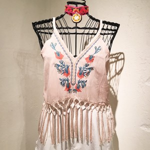 See-through Fringe Camisole / Baby Pink