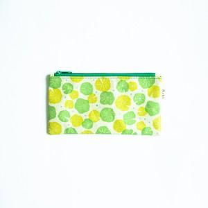 Ashi|亜紙 Flat Pouch M*Lotus Leaf 紙ポーチ 植物柄 ハス ハンドメイド