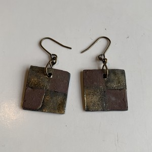 square earrings1(antique gold/brown)