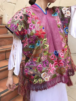 Vintage Guatemala pink lame floral embroidery fringe tops ( ヴィンテージ グアテマラ ピンク ラメ 花柄 刺繍 フリンジ トップス )