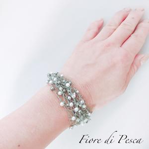 Croshet (silver x  pearl) Bracelet