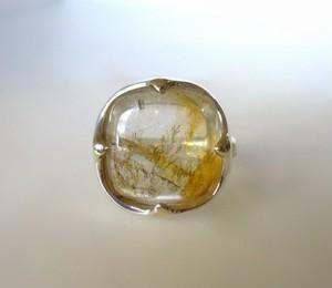 四角いデンドリッククォーツの指輪