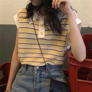 【トップス】通勤/OLエレガント切り替えボタンストライプ柄ノースリーブTシャツ21640807