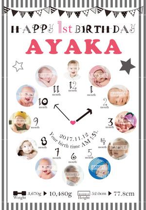 赤ちゃんの誕生日ポスター_14 A0サイズ