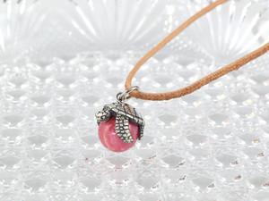 限定商品 幸福のウミガメ玉ペンダント インカローズ 革ヒモネックレス付き