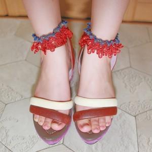 medley オリジナル フリンジアンクレット アクセサリー 靴下留め oranklet03