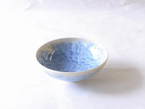 清水焼 結晶釉 抹茶碗(平茶碗)縹(はなだ)色