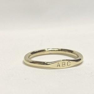 『イニシャルリング (Aタイプー太)P』Brass(真鍮)製 ポリッシュ仕上げ