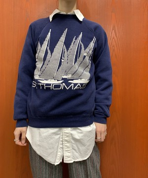 """1980s Hanes MADE IN USA """"ST.THOMAS"""" print sweat【M】"""