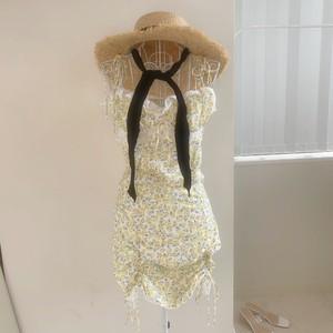 【即納】feminine yellow shirring dress