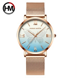 女性用時計日本クォーツムーブメント3Dバタフライトップブランド高級ステンレススチール防水腕時計relogiofemininoHM-13620-LAN