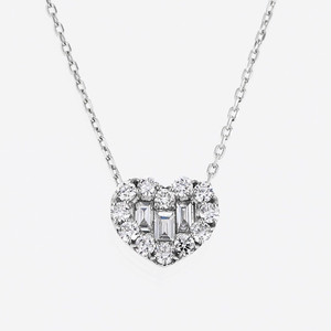 Tiny heart K18WG Diamond Pendant Necklace (ダイヤモンド ペンダントネックレス)