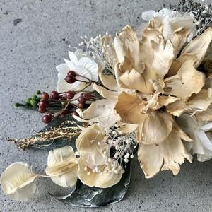 シャクヤクと野ばらの実、紫陽花の和装ヘッドドレス