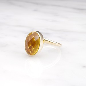 SINGLE OVAL STONE RING GOLD 007