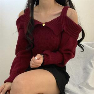 【トップス】ファッション長袖オフショルダー・ネックプルオーバーニットセーター35465287