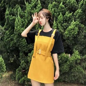 【ワンピース】夏スウィート着痩せ配色カジュアル半袖ショートワンピース