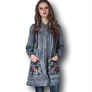 【秋冬おすすめ】花柄刺繍 縦プリーツ デニム シャツ ワンピース 長袖 Z014