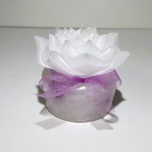 薔薇キャンドル(白 × 白・紫)