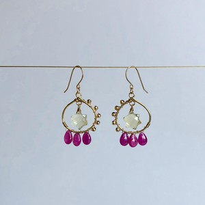 Lemon Quartz & Rubby Earrings