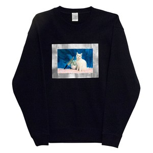 silver framed kitten sweatshirt ※8月初旬-中旬の配送