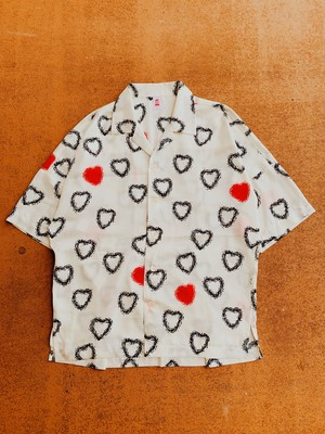 HALF SLEEVE HEART CHILL BIG SHIRT-WHITE