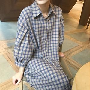 【即納♡】plaid ballon sleeve dress 2898