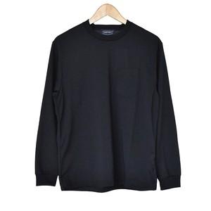 長袖 コットンライク ポリエステル天竺 Tシャツ ブラック
