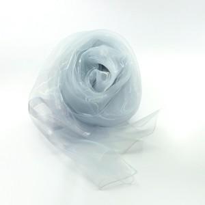 天女の羽衣 極薄オーガンジーのスカーフ ラメエッジボーダー ライトグレー
