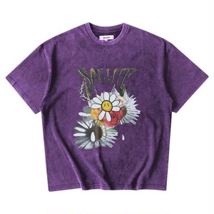 【予約商品】SALUTE Washed Flower Vintage T-Shirts PURPLE