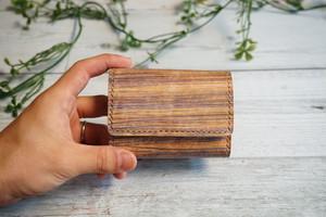 着物の染色技法で革を染めた三つ折りミニ財布 no,20