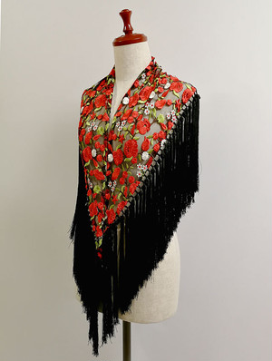 YL-MC_DF-ngr マントンシージョ 花柄刺繍チュール・黒赤系 スペイン製 既製品