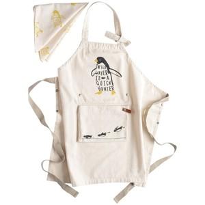 アンドパッカブル エプロン 三角巾セット 子供用 約70×68cm 白ペンギン ホワイト 63240