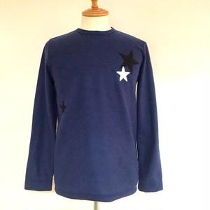Star Patchwork Crew Neck Knit sewn Navy