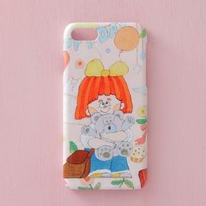送料無料♪スマホケース スマホカバー/iPhone/Galaxy/Xperia/ほぼ全機種対応♪イラストが可愛い 【テーマ:女の子 ピンク くま】