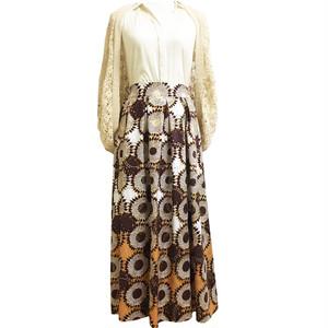 ガーナ産生地のロングスカート Mサイズ「ひまわり」ブラウン×オークル(日本縫製) アフリカン バティック パーニュ エスニック ガーナ服