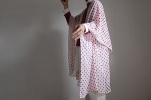 春の新作・ロング ケープ コート Re_1say / ポリエステル シフォン【 白に赤の水玉 】/ long cape coat/ polyester chiffon【 red polka dots on white 】