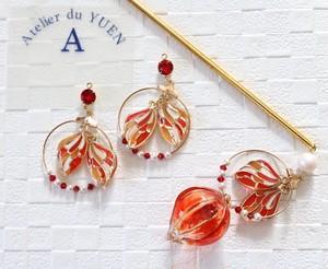 ⌘らじお×YUEN ペア販売⌘ 金魚×鬼灯の簪+金魚の耳飾り